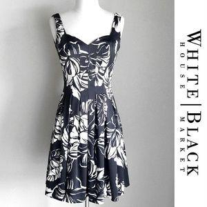 White House BlackMarket Satin Floral Pleated Dress